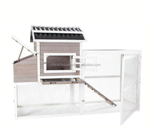 Easy clean waterproof wooden chicken coop with PVC Roof and Run cage Outdoor with egg laying box