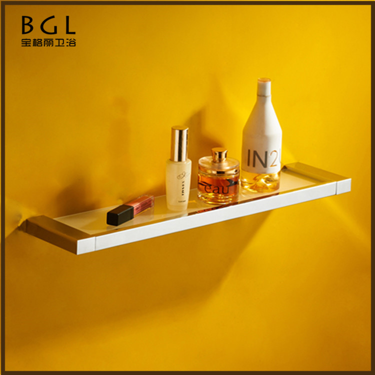 No.85537 Understated Design Brass Chrome Finishing Wall Mounted Bathroom Accessories Glass Shelf