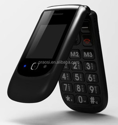 Flip senior citizen mobile phone with SOS camera quadband color screen and very cheapest