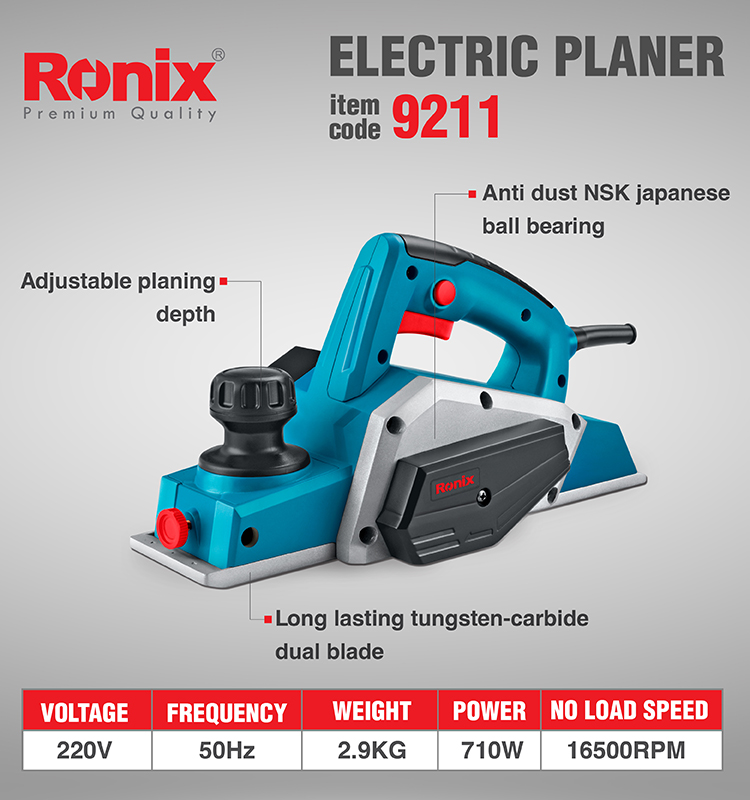 Ronix In Stock 710W  Electric Wood  Planer Model 9211 wood working electric planner power electric planner