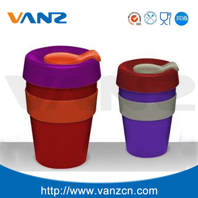 Eco-friendly coffee <strong>cup</strong> with silicone lid