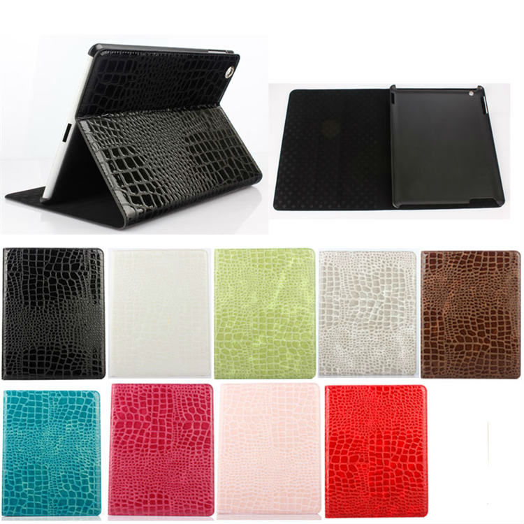 Wholesale crocodile pattern PU leather case for apple iPad4 , leather cover for ipad 2/3/4