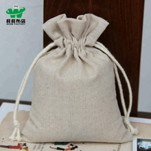 Linen cotton packaging bag small drawstring tea gift pouches handmade