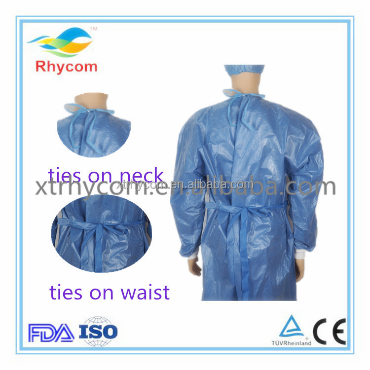 Sample free Non-woven SMS PE Disposable sterilized medical knit cuff green surgical gown with CE ISO FDA approved