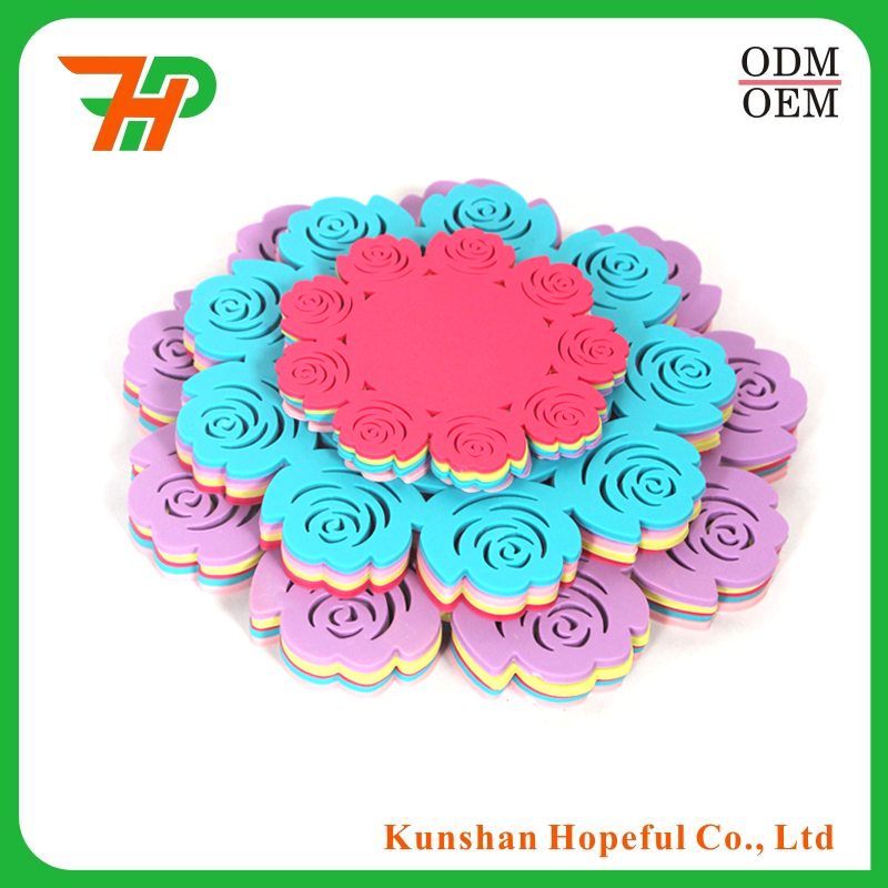 OEM design high quality 3D flower pvc silicone cup coaster custom