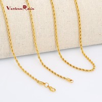 WesternRain Short 450mm Gold Plating Elegant Charming Chian Necklace,Wave Plain Chain for Women Jewelry Accessories Flat Link