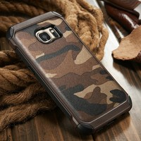 2016 New arrival 2 in 1 camouflage TPU+PC+PU leather back cover for Samsung galaxy s7 mobile phone cover