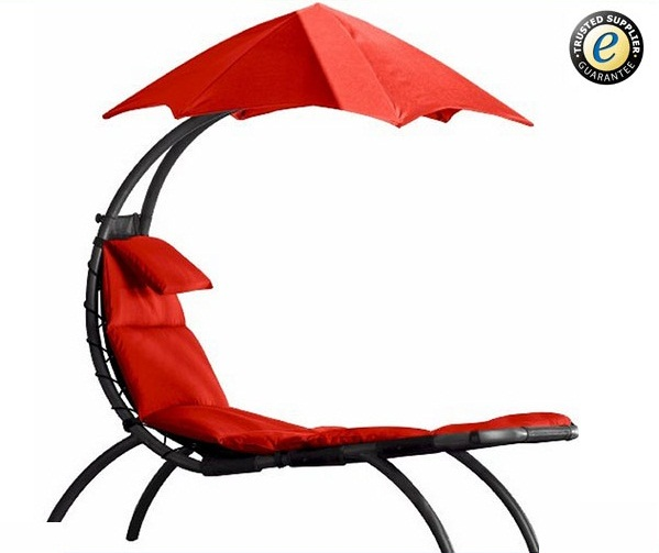 Outdoor garden standing hammock lounge chair with canopy - red
