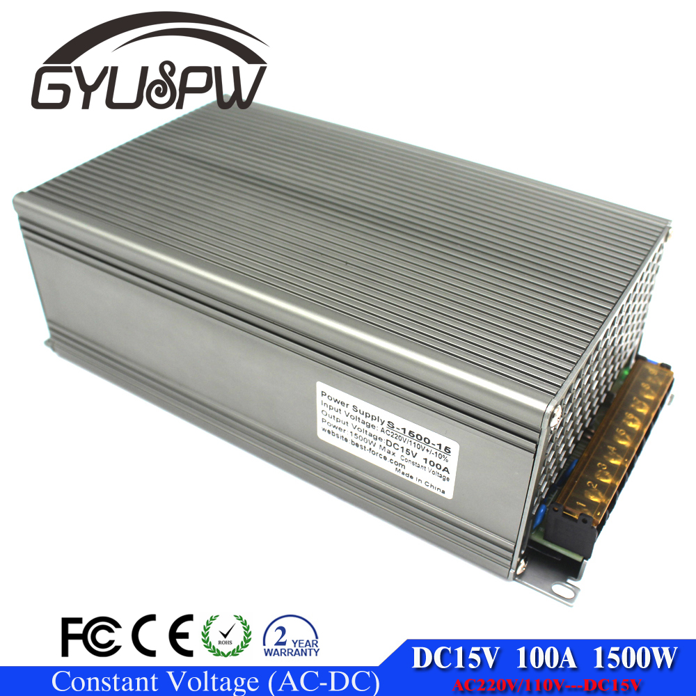 Switching Power Supply DC15V 1500W AC-DC 15V Power <strong>Source</strong> Adapter 15VDC Power Driver for LED Light Monitor CCTV Camera CNC Motor