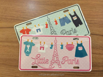 wholesale full color printing romantic paris metal postcard,lovely metal plates