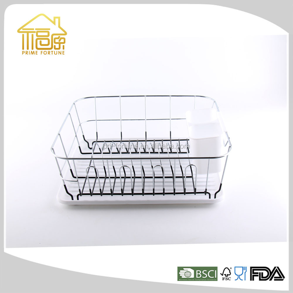 Good Quality Metal Wire Dish Drying Rack Kitchen Storage Rack with Plastic Tray