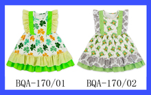 St.Patricks Day Baby Cotton & Polyester Frocks Designs Patchwork Style Girls Frock Patterns