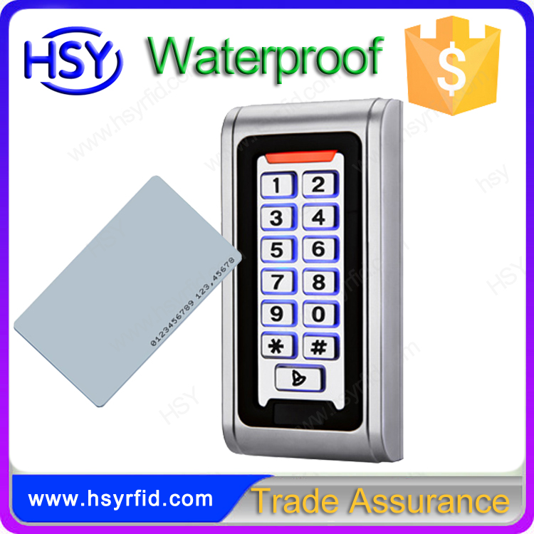 Access control digital door lock waterproof standalone keypad rfid reader with blacklight