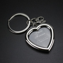 Custom Photo Frame Metal Simple Heart Shaped Photo Keychain