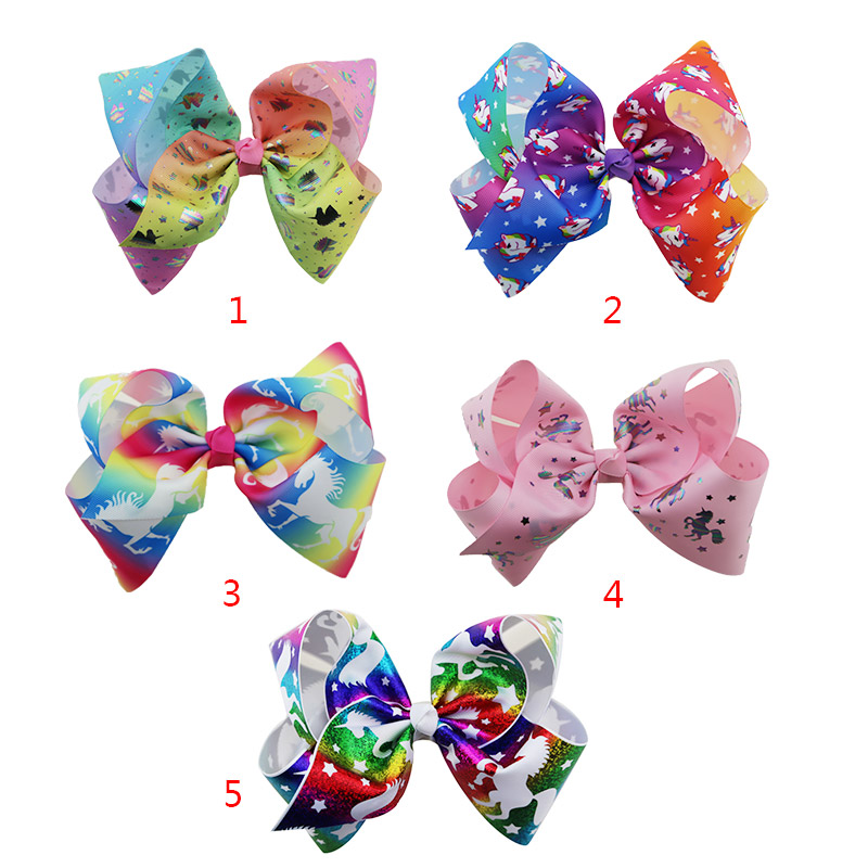 Hot sale 5pcs girl fashion jojo rainbow unicorn hairpin big hair bow clip headdress accessories gifts