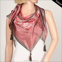 100% polyester square scarves poly paj decorated with beads scarf
