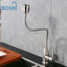 2 Way stainless steel Body With Stainless Steel Universal Spout Kitchen Sink Faucet Cold Water Tap Jet Shower Mixer