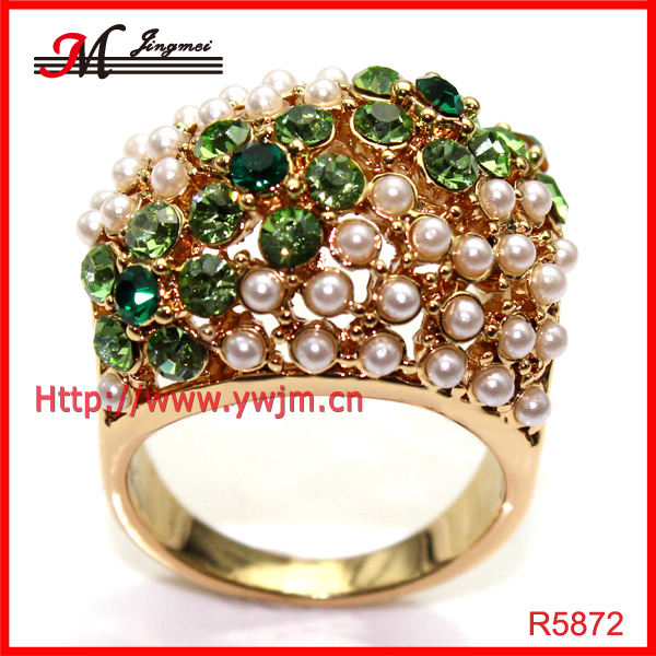 R5872 Fashion 18k gold E-coating Cz with pearl ring design