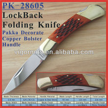 "(PK-28605) 5"" Copper Bolster inlay Ox Bone Handle Backlock Folding Pocket Knife"