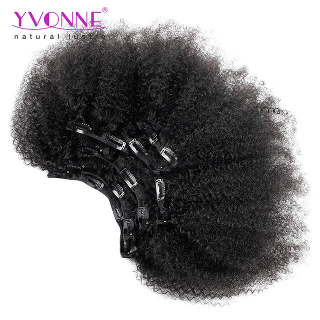 Promotion Afro Kinky Curl Double Weft Remy Human Hair Clip In Hair Extensions