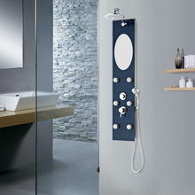 advertising promotion economical easy install laser electric shower fittings mirror shampoo shelf waterfall shower panel