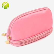 New products double zippers glossy cosmetic bag nylon makeup artist bag