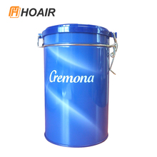Modern design coffee tin can with hinged lids can be customized