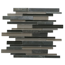 Low price strip glass mix stone kitchen backsplash wall tiles
