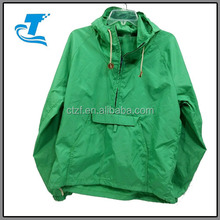 half zip plain dyed jacket men pullover green anorak with stomach pocket