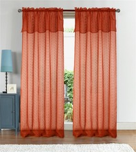 100% polyester 80gsm dolly window sheer curtain rod with valance