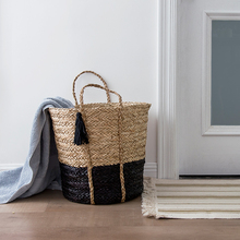 Dirty clothes hamper felt seagrass storage basket with handle