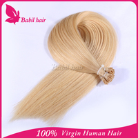 Double drawn 100 keratin I tip virgin human hair extenion wholesale 8-30 blonde color human hair extensions