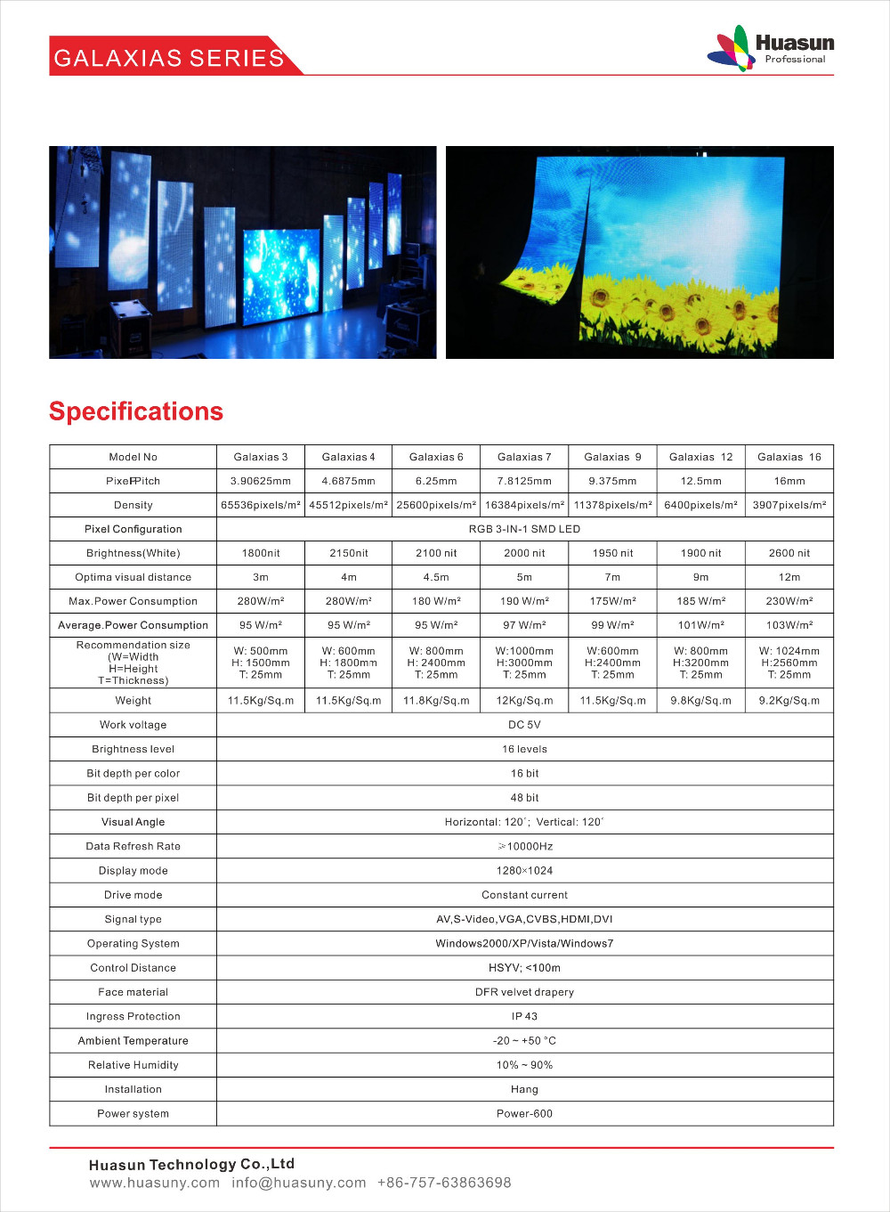 flexible led display soft led curtain Galaxias Huasuny