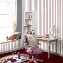 non-woven fabric red and white vertical stripes wallpaper