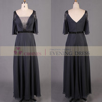 Dark purple and grey 3/4 sleeve backless mother evening dress