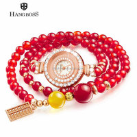 Unique hangboss customized lady bracelet watch with real Garnet with crystal case for fashion dress are fashion and popular