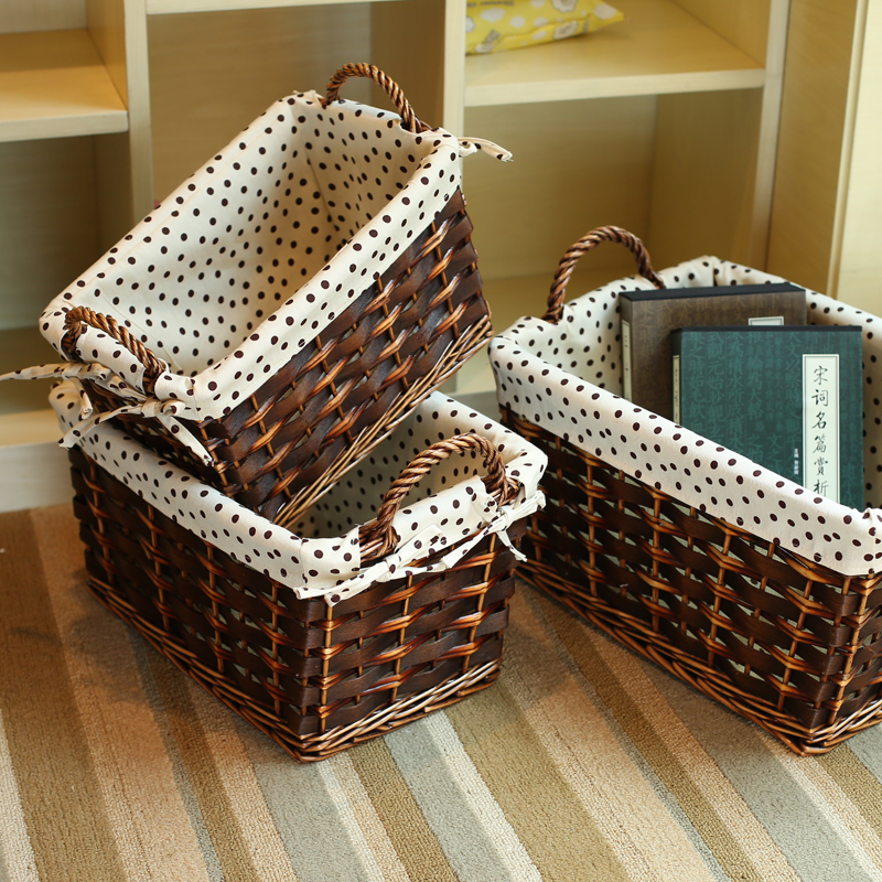 YRMT,Wholesale easter baskets brown polished wicker basket with lining