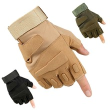 Military tactical outdoor cut fingers black tan green airsoft police anti riot protective gloves