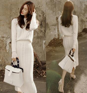 zm21145a autumn and winter women fashion knitting blouse and skirt suits
