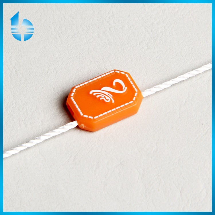 plastic string tag with logo, plastic hang tag cord tag loop, plastic name tag holder