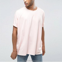 longline t shirt wholesale China round neck short sleeves custom men baggy t shirt