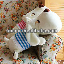 cute stuffed big head dog soft white toy dog in stripe clothes promotional new year toys gifts
