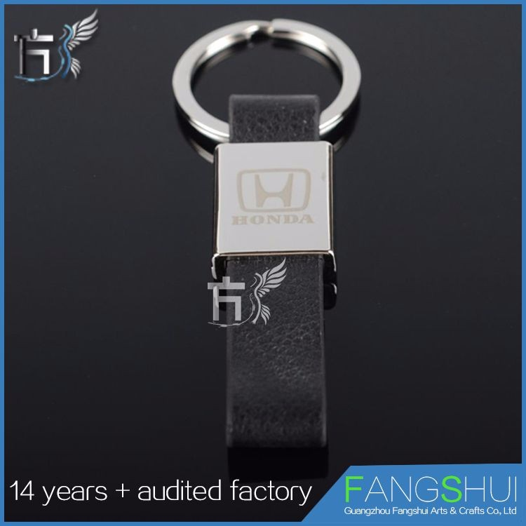 Top quality Factory price genuine leather car logo keyring
