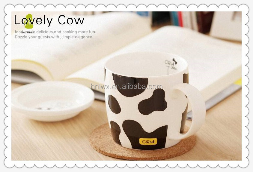 Best Selling 11oz Ceramic Cow Milk Mug With Cover