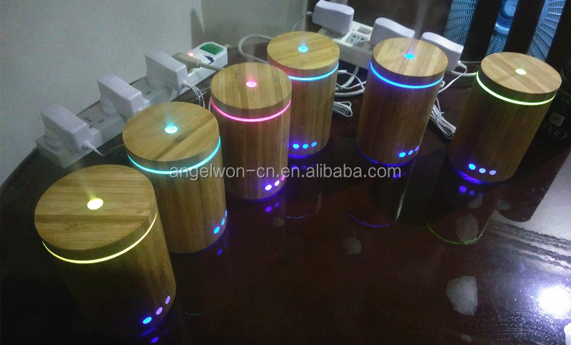 160ml real bamboo essential oil diffuser ultrasonic humidifier air purifier with LED night light