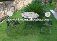 Best selling antirust patio bistro table and chairs with mosaic pattern