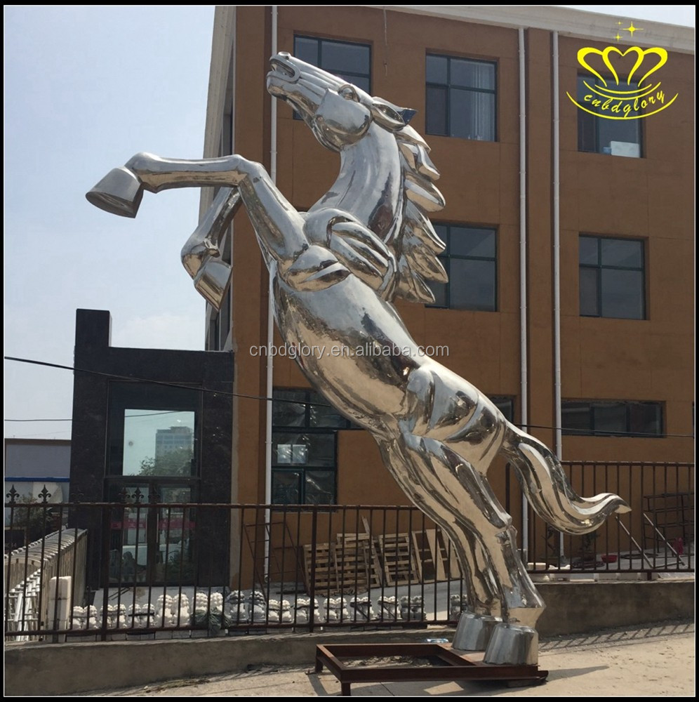 outdoor garden decoration large stainless steel animals horse