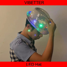 Multple color Flashing Light Up Fedora Caps /LED Sequin Hat /Fashion Lighted Hats