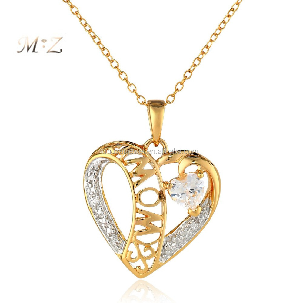 Fashion mom jewelry 925 sterling silver and gold plated MOM two tone pendant necklace