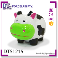 custom made cute ceramic cow shape animals piggy bank with coin counter coin bank